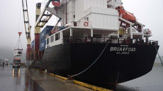 The Bruarfoss moves a container in St. Anthony, Newfoundland