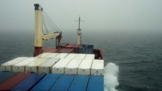 A view from the bridge as the Bruarfoss sails between Halifax, Nova Scotia and Argentina, Newfoundland