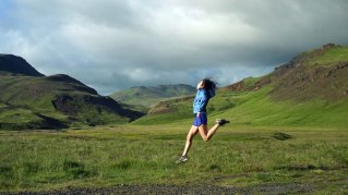 Ihila jumps near the town of Hveragerði in the Reykjadalur Valley.