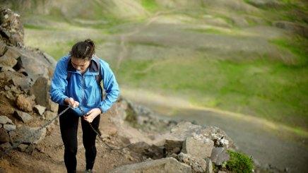Ihila climbing Mount Esja