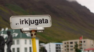 A street sign in Akureyri