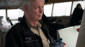 Ragnar Agnarrson, 2nd mate aboard the Bruarfoss, is on watch in the bridge.