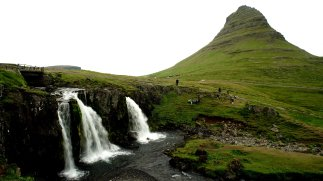 Kirkjufell (Church Mountain) is a cone-shaped mountain in the Snaefellsnes peninsula in western Iceland. This mountain is partly owned by Hjortur Gudmundsson, the chief engineer on the Bruarfoss.